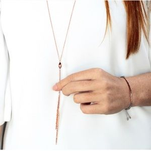 Gorjana long lariat necklace in rose gold